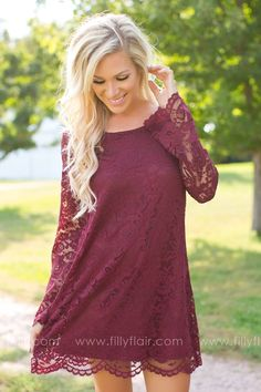 Long sleeve lace bridesmaid dress for a fall or winter wedding!