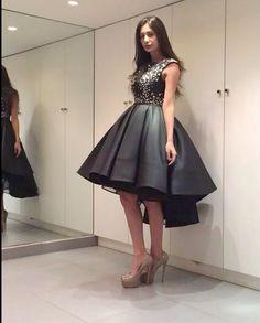 2017 Custom Charming Black A-line Prom Dress,high-low satin short prom dress, Beading Sleeveless Evening Dress - Thumbnail 2