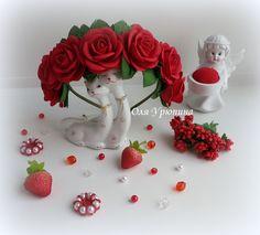 Ободок с розами из фоамирана.