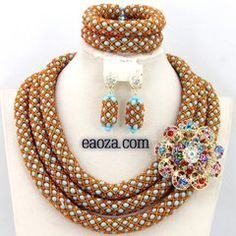 3 layer Beads Jewelry Set Nigerian Bead Necklaces Wedding African Beads Jewelry Set