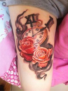 Beautiful Rose & Clock Thigh Piece