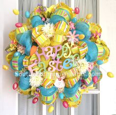 Deco Mesh Wreath Happy Easter w Eggs by SouthernCharmWreaths, $96.00