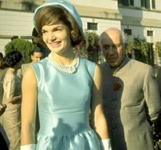 First Lady Jackie Kennedy in New Delhi, India, for a visit to the All-India Institute of Medical Science as well as visit and tour of prime minister's gardens in New Delhi, India, 1962.
