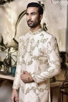 Buy Men's Sherwani-Latest Designer Sherwani in Pakistan Online 2021-Men's Wear With Zari, Embroidery, In USA, UK, Canada, Australia Visit Now : www.NameerabyFarooq.com or Call / Whatsapp : +1 732-910-5427 Sherwani Groom, Mens Sherwani, Cotton Frocks, Off White Color, Dress Making, Party Wear, Pakistan, Ready To Wear, Menswear