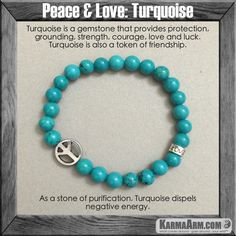 PEACE & LOVE: Turquoise Yoga Mala Bead Bracelet  -- Turquoise is a gemstone that provides protection, grounding, strength, courage, love and luck.Turquoise is also a token of friendship. Perhaps it's strongest ability is for alleviating negativity.  #love #charm  #healing #zen #men's #bracelets #women's #lucky #buddhist #buddha #aura #fitness #luck #luxury #power #energy #crystal #motivate