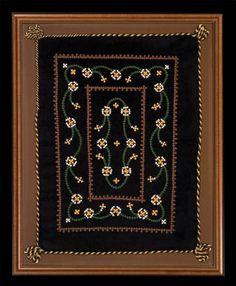 Pillowcase, Armenian embroidery, 1951  Anahid Kazazian (b. 1934)  Lexington, Massachusetts  Velvet, cotton thread