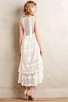 Lacefall Dress - Good for a wedding rehearsal dress! Cute Dresses, Beautiful Dresses, Cute Outfits, Midi Dresses, Dress Skirt, Lace Dress, White Dress, Wedding Rehearsal Dress, Vogue