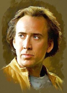 Colored pencil drawing of Nicolas Cage