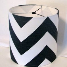 Drum lampshade grey and white chevron / Lamp by elladeandesign