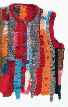 """Want to secure your identity as the neighborhood """"eccentric""""? You can't go wrong with a kooky vest: What better use for scraps of yarn? Mode Streetwear, Knit Vest, Knit Fashion, Diy Clothes, Knitwear, Knit Crochet, Cool Outfits, Couture, Knitting"""