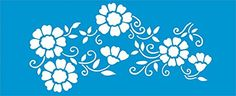"16.5"" x 6.7"" (42cm x 17cm) Reusable Flexible Plastic Stencil for Graphical Design Airbrush Decorating Wall Furniture Fabric Decorations Drawing Drafting Template - Leaves Flowers"