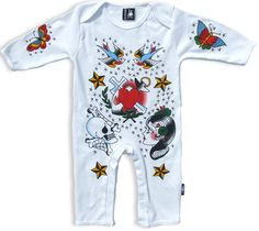 BABY ROMPER BODYSUIT SIX BUNNIES GIRLS BOYS HEART SWALLOW PIRATE SHIP TATTOO