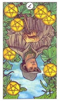 9-20-2012 Thursday's Tarot Card: REVERSED 7 OF PENTACLES (Robin Wood Tarot) – Are you perhaps putting too much time and effort into a project that isn't producing dividends? Now is a great time to evaluate what is working and what's not. If you aren't getting a reasonable return on investment, it's time to make some adjustments. Take responsibility for the situation and work toward turning things around so that you can find some stability once again.