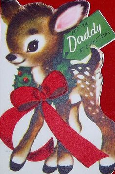 """Cute vintage deer card """"For You Daddy at Christmas"""""""