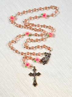 762d02a33 Catholic Glass Crystal Rosary Pink Crystal Beads Rose Beads Madonna and  Child