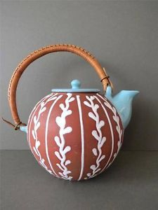 Vintage Danish Teapot or Coffee Pot by Holbaek Mid Century Art Pottery
