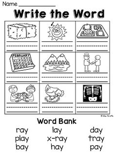 ay sound worksheets that are a lot of fun and very visual AND differentiated