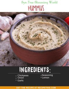 Syn Free Slimming World Hummus with fresh garlic, lemon and perfect for your SP Slimming World days. Dip your sliced red peppers and your delicious fresh tomatoes into this Slimming World Hummus bowl of heaven. Slimming World Hummus Recipes, Slimming World Dips, Slimming Eats, Sp Days Slimming World, Slimming World Houmous, Slimming World Lunch Ideas, Syn Free Snacks, Syn Free Food, Sliming World