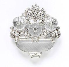 Cartier platinum, quartz crystal, moonstone and diamond brooch, circa 1930