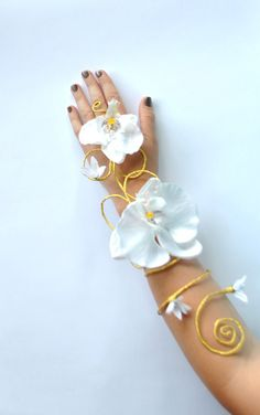 White and gold Orchid flower and vine arm cuff by InMyFairyGarden