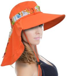 7fb68598c2d24 Sun Hat for Women Large Brim UV Sun Protection with Neck Flap Hat for  Outing Fishing