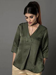 Military Green Satin Linen Top By Ritu Jain Singh – Linen Dresses For Women