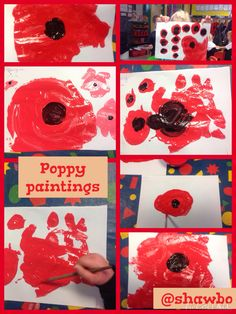 Poppy paintings Days To Christmas, Monthly Themes, Remembrance Day, Eyfs, Veterans Day, Poppies, November, Arts And Crafts, Activities