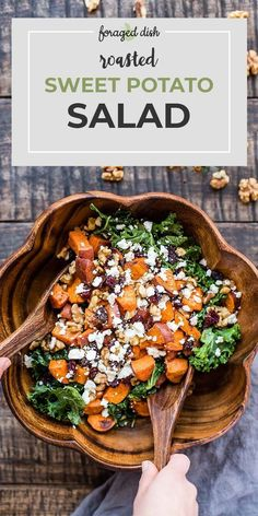 Fried sweet potatoes are served in a salad with kale, dried cranberries, walnuts. - Fried sweet potatoes are served in a salad with kale, dried cranberries, walnuts … – Fried swe - Best Salad Recipes, Healthy Recipes, Recipes With Kale, Summer Salad Recipes, Arugula Recipes, Green Salad Recipes, Vegetarian Recipes Goat Cheese, Recipe For Salad, Veggie Salads Recipes