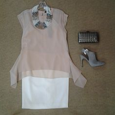 #Lookoftheday!!! @bcbgmaxazria Sammie blush top, @raoulfashion ivory pencil skirt, @zenzii multi strand necklace, @sam_edelman Julian mule in gray sharkskin, and studded gun metal clutch.#nuetralcorners #softsideofdressing #ootd