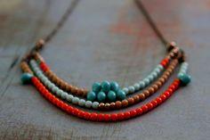 Mandarine et Turquoise Collier Tribal - verre tchèque - Orange, bleu Aqua, menthe verte, Beige, or - couleur d'automne - Fall Fashion - boît...