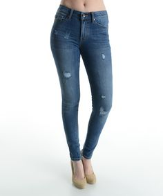 Look at this Blue Distressed Mid-Rise Skinny Jeans on #zulily today!