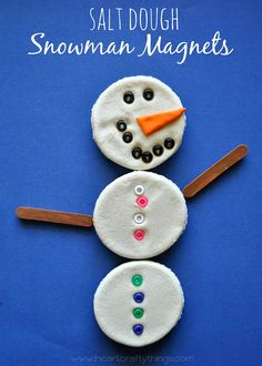 Make a snowman magnet out of salt dough and pony beads. Kids will love rearranging their snowmen on the fridge | from I Heart Crafty Things