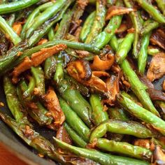 Stir-Fried Szechuan Green Beans & Shiitake Mushrooms Recipe Side Dishes with soy sauce, water, dry sherry, sesame oil, sugar, corn starch, red pepper flakes, dry mustard, vegetable oil, green beans, shiitake, garlic, fresh ginger