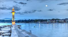Lighthouse At The Paquis, Geneva, Switzerland, Hdr by Elenarts - Elena Duvernay photo Places In Switzerland, Geneva Switzerland, Geneva City, Famous Places, All About Eyes, Hdr, Cn Tower, Lighthouse, Travel Photos