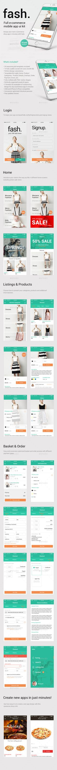 Fash – A Mobile E-Commerce Shop UI Design Kit (User Interfaces)