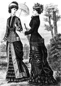 For my homework I had to look for clothing from the Victorian era. I found this Victorian Fashion plate scan of an 1879 Victorian Wedding Dress. It shows two women that are wearing bustle dresses and jackets. I really like this image as the clothing is carefully detailed and the corsets they are wearing underneath give the illusion of a smaller waist.