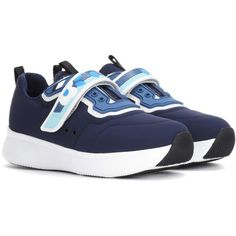 Prada Embellished Sneakers ($615) ❤ liked on Polyvore featuring shoes, sneakers, blue, embellished sneakers, prada shoes, prada footwear, decorating shoes and blue shoes