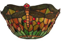 """14 Inch W Tiffany Dragonfly Wall Sconce - 14 Inch W Tiffany Dragonfly Wall Sconce Theme: VICTORIAN TIFFANY ART GLASS INSECTS Product Family: Product Type: WALL SCONCES Product Application: WALL SCONCE -- ONE LIGHT Color: 59R 59 ORANGE RED Bulb Type: MED Bulb Quantity: 2 Bulb Wattage: 60 Product Dimensions: 6""""H x 13""""W x 7""""DPackage Dimensions: NABoxed Weight: 3 lbsDim Weight: 30 lbsOversized Shipping Reference: NAIMPORTANT NOTE: Every Meyda Tiffany item is a unique handcrafted work of art…"""