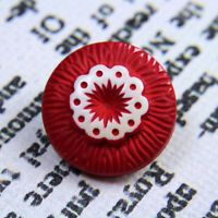 Button Vintage Buffed Celluloid Ring of Circles in Red