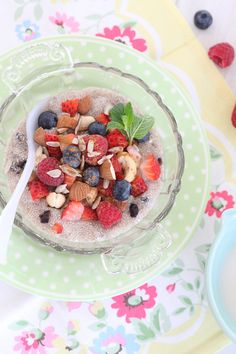 chia porridge w/seeds, nuts & berries (great breakfast and can sit overnight in the fridge, ready to eat in the morning)