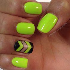 Neon green yellow chevron nail art design