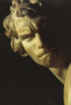 "Gianlorenzo Bernini, ""David"" (detail, 1623-4), marble Sculpture, 170 cm (67 in), Galleria Borghese, Rome, Italy."