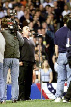 Joel performing the National Anthem at Yankee Stadium during the 2000 World Series.