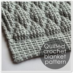 Diamond Quilted Crochet Pattern (makes blankets, scarf, bath mat, & rug).