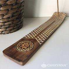 Wood Incense Burner | Om and Lotus Symbol