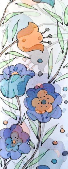 Mano pintada seda bufanda larga, regalo de ETSY, verano bufanda, bufanda azul MOD Floral, bufanda de la gasa de seda, seda bufandas Takuyo, 11 x 90 pulgadas, 27 x 228 cm Añadir un refrescante azul, turquesa y naranja a tu vestuario con esta hermosa bufanda larga y seda pura. Una fresca y brillante colores azul fluirá en tu look de verano! El diseño floral MOD es dibujado con resistir negro y pintado con pigmentos de seda francés por mí. Esta pintado a mano seda bufanda que he creado es…