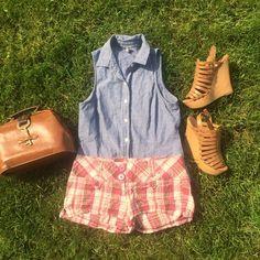 Maroon Tan and Brown Plaid Shorts Super adorable short plaid shorts.  80% Cotton, 20% Linen, Made in China. Shorts