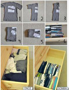 Tshirtlerinizi bu şekilde katlayarak dolabın dağılmasını önleyebilirsiniz. - Sayfa: 4