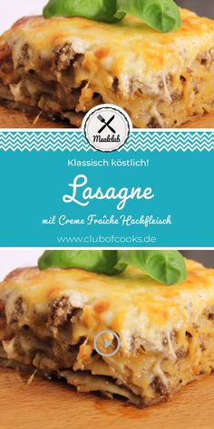 Lasagne (mit Creme Fraîche Hackfleisch) This lasagna is not the classic Italian lasagna, but our personal favorite recipe with minced meat and crème fraîche. Healthy Recipes On A Budget, Cooking On A Budget, Meat Recipes, Crockpot Recipes, Chili Recipes, Italian Lasagna, Meat Lasagna, Breakfast Recipes, Dessert Recipes