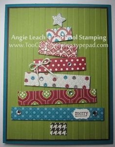 Cool Christmas Tree Card...using assorted strips of colorful paper. Good way to…